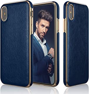 LOHASIC iPhone Xs Max Case, Slim & Thin Luxury PU Leather Soft Flexible Defender Bumper Anti-Slip Grip Scratch Resistant Protective Cover Cases Compatible with iPhone Xs Max (2018) 6.5 inch - Blue