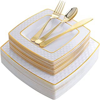 125 Pieces Gold Plastic Disposable Plates, Diamond Square Plates,New Gold Plastic Silverware, Includes: 25 Dinner Plates 9.5