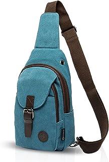 FANDARE Vintage Rucksack Sling Bag Umhängetasche Messenger Tasche Schultertasche Reisen Crossbady Bag Sporttasche Studententasche Segeltuch Blau