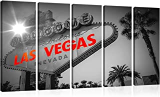 City Canvas Print Wall Art Urban Murals Art Black and White Welcome to Fabulous Las Vegas, Sign Picture Traveler Urban Road Decor Design Art Print-Giclee Artwork- Ready to Hang(12X32inchx5,Framed)