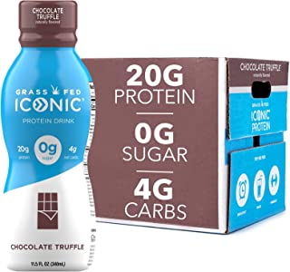 Iconic Protein Drinks, Chocolate Truffle (12 Pack) | Low Carb Protein Shakes | Grass Fed, Lactose Free, Gluten Free, Non-G...