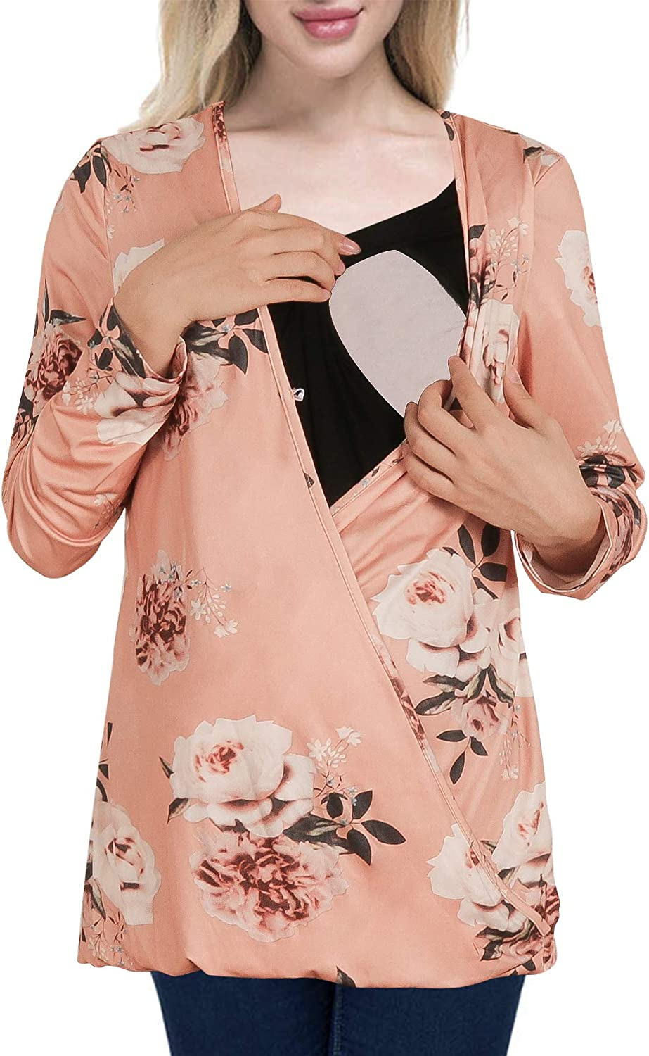 Cinery Women's Long Sleeve Nursing Tops Floral Wrap Front Pregnancy Shirts
