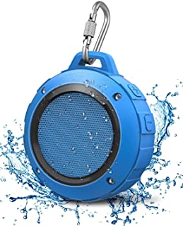Outdoor Waterproof Bluetooth Speaker,Kunodi Wireless Portable Mini Shower Travel Speaker with Subwoofer, Enhanced Bass, Built in Mic for Sports, Pool, Beach, Hiking, Camping (Blue)