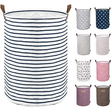 DOKEHOM 18-Inches Grand Organiser Paniers pour Vêtements Stockage, Cordon Paniers à Linge, Pliable Sac à Linge, Pliage Grande Capacité Corbeilles à Linge (bleu, M)