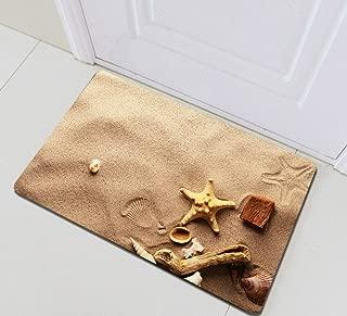 Seaside Sand Starfish Seashells Conch Bathroom Rug,Indoor Non-Slip Door Mat,Children's Bathroom Carpet,15.7X23.6 in,Bathroom Accessories