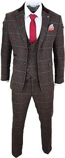 Cavani Mens Dark Brown Herringbone Tweed Blue Red Check 3 Piece Suit Vintage Tailored Fit Brown