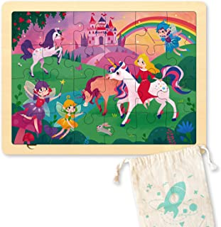 24 Piece Puzzles for Kids 3 Year Old, Unique Shape Jigsaw Pieces Fairy Princess, Wooden Jigsaw Puzzles for Toddlers, Presc...