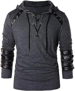 ESKNAS Men's Pullover Top Autumn Winter Vintage Leather Patchwork Long Sleeve Tops Drawstring V-Neck Sweatshirt Blouses