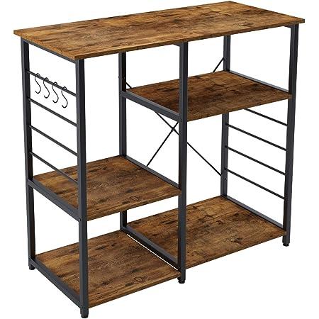 soges Kitchen Baker's Rack Utility Microwave Oven Stand Storage Cart Workstation Shelf with Basket Large Size,171-FG