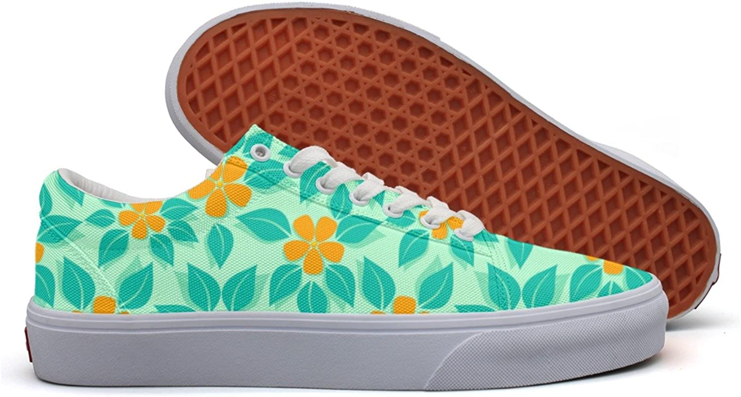 Charmarm Tropical Pattern orange Womens Comfortable Low Top Canvas Running shoes