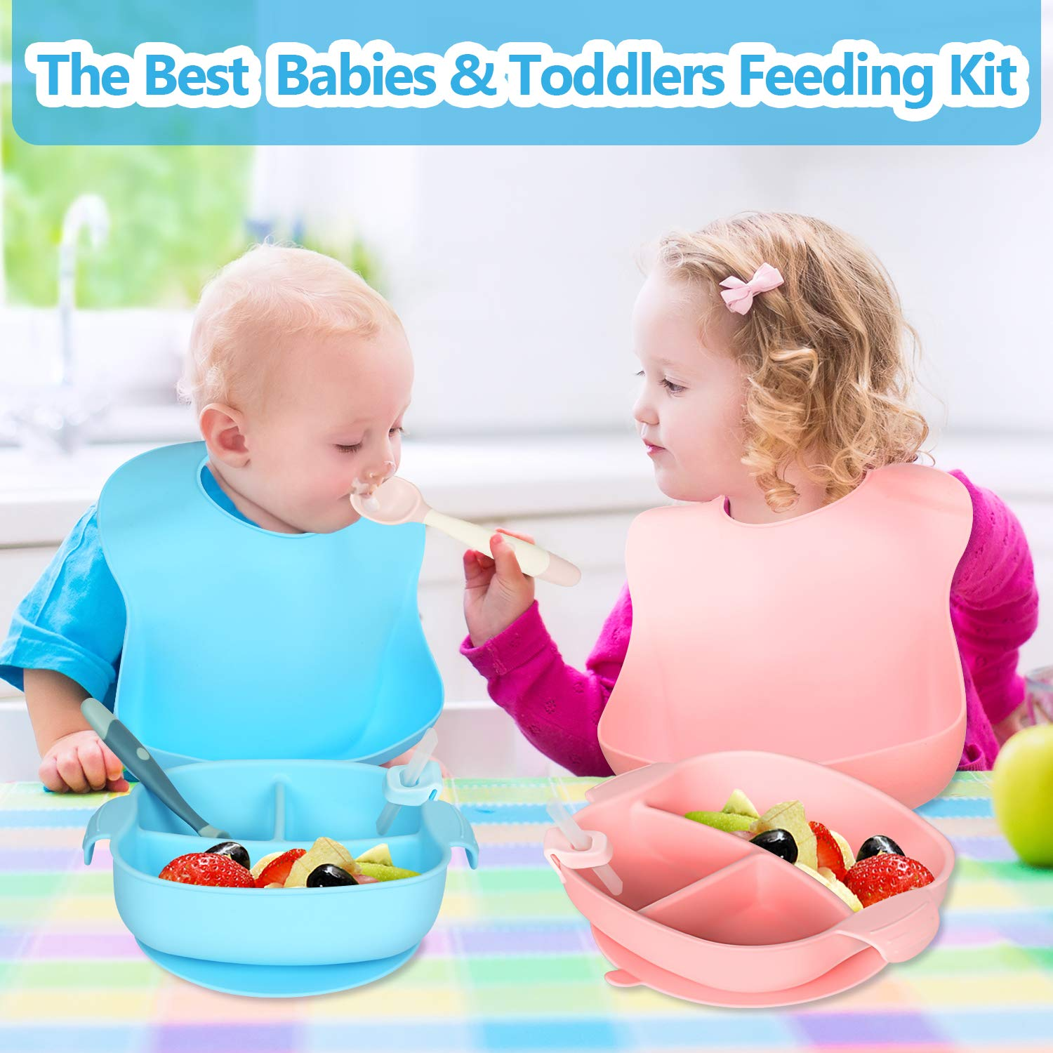 1 Silicone Strong Suction Toddler Bowl with Straw,1 Baby Self Feeding Spoon and Fork Set,1 Adjustable Silicone Baby Bib ROOHUA 5 Piece Silicone Baby Feeding Set Blue