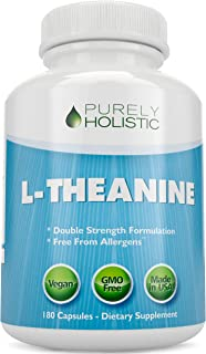 L-Theanine 200mg (Double-Strength) 180 Vegan Capsules a 6 Month Supply, Non GMO & Gluten Free Ltheanine Stress and Anxiety...