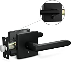 Berlin Modisch Privacy Lever Door Handle Slim Square Easy to Open Locking Lever Set [for Bedroom or Bathroom] Reversible for Right & Left Sided Doors Heavy Duty - Iron Black Finish
