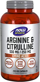 NOW Sports Nutrition, Arginine & Citrulline 500 mg/ 250 mg, Amino Acids, 240 Veg Capsules