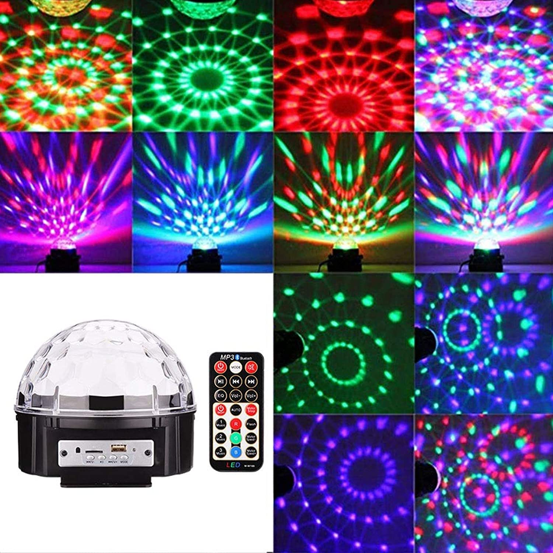 mejor moda Disco Luces LED 9 Color Color Color Magic Ball Light Mini Sonido y Control Remoto Iluminación con Efecto azultooth (Color   Power Cord 8m)  barato en línea