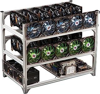 Mining Rigram, Stål Open Air Miner Mining Ram Rig Case Upp till 12 GPU för Crypto Mynt Valuta Bitcoin Mining Tillbehör Ver...
