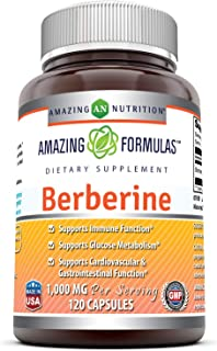 Amazing Formulas Berberine 500mg (1000mg Per Serving) 120 Capsules - Supports Immune Function, Cardiovascular & Gastrointe...