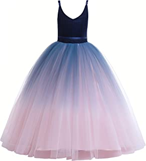 91945d5c8 Glamulice Girls Lace Bridesmaid Dress Long A Line Wedding Pageant Dresses  Tulle Party Gown Age 3