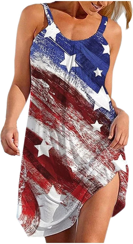 CLDREAM Summer Dresses for Women Casual Beach Sundress Sleeveless Bohemian Dress Loose Tank Dress American Flag Dress