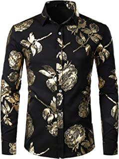 ZEROYAA Men`s Geek Rose Gold Shiny Flowered Printed Stylish Slim Fit Long Sleeve Button Down Shirt