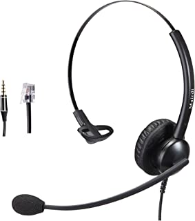 Telephone Headset with RJ9 Jack for Phone Mono with Noise Cancelling Microphone Plus Extra 3.5mm Connector for Mobiles Com...
