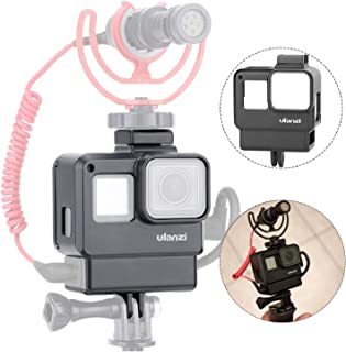 ULANZI V2 Protective Housing Case Vlogging Frame Cage Mount with Microphone Cold Shoe Compatible for GoPro Hero 7 6 5 Vlog Setup Action Camera Accessories