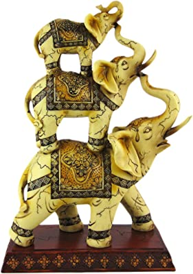"""Trunk Up Good Luck Ivory Stacked Elephant Trio Statue Figurine Collectible 11.75"""" H"""