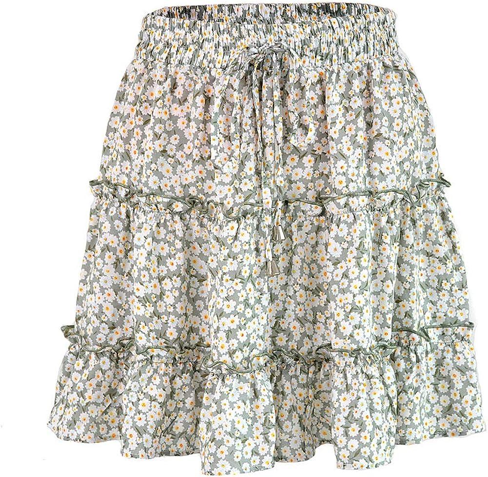 Ranle Women's Skirt Summer Floral Skirt High Waist Ruffle Skirt Vacation Casual Mini Skirt