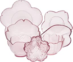 YZG FACTORY Glass Dinnerware Set , Artistic Design Soup Bowls, Cereal Bowls, Dishes, Plates and Bowls Sets 7-Piece, Pink, ...