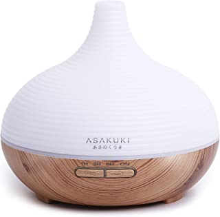 ASAKUKI 300ML Premium, Essential Oil Diffuser, Quiet 5-In-1 Humidifier, Natural Home Fragrance Diffuser with 7 LED Color C...