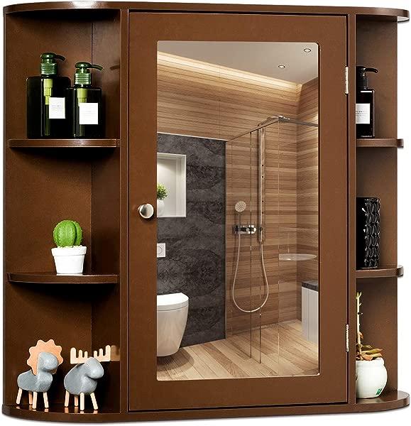 Tangkula Medicine Cabinet Bathroom Mirror Cabinet Wall Mounted Ideal For Bathroom Living Room Brown