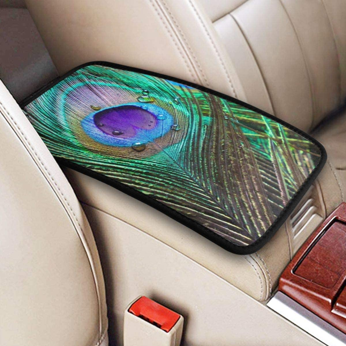 Ouqiuwa Peacock Feather Abstract Auto Center Console Armrest Pad Seat Box Cover Universal Fit Car Armrest Cover Cushion Mat Washable for SUV Car Accessories