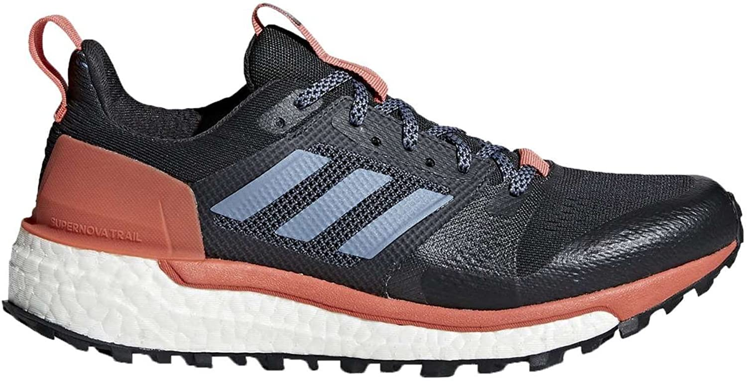 Adidas Women's Supernova Trail Running shoes, Carbon \ Raw Steel \ Trace Scarlet,10.5 M US