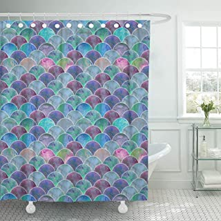 Emvency Waterproof Shower Curtain Curtains Fabric with Hooks Mermaid Scale Ocean Wave Japanese Teal Purple Watercolor Colorful 60