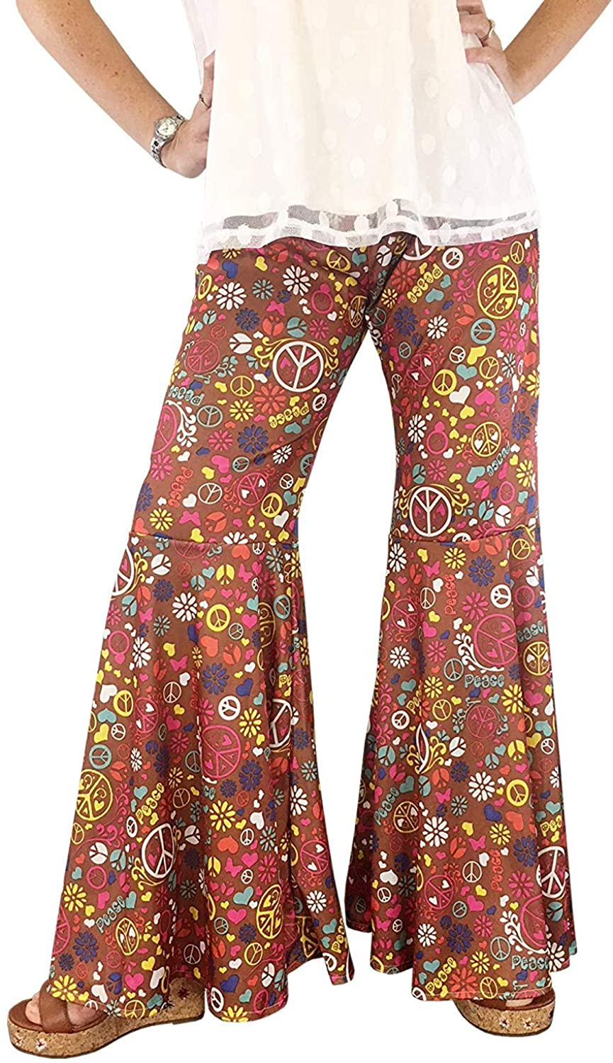 60s Pants, Jeans, Hippie, Flares, Jumpsuits 70s Clothes for Women Groovy Hippie Bell Bottom Flared Costume Pant Peace Sign  AT vintagedancer.com