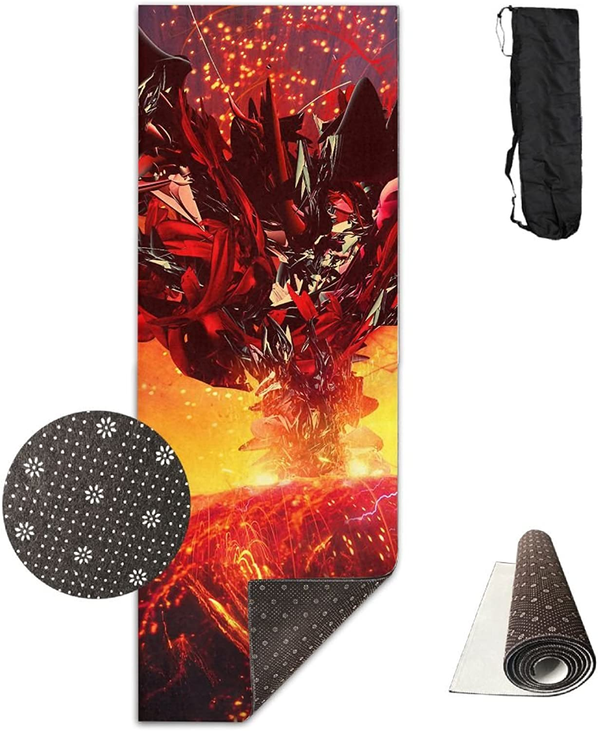 Gym Mat Volcano Eruption Fire Fitness High Density AntiTear Exercise Yoga Mat With Carrying Bag For Exercise,Pilates