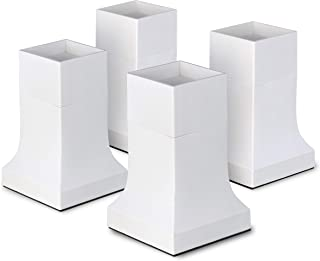 """Bed Risers, Set of 4 with Adjustable Height from 4"""" to 6"""", Matte White - Stylish, Modern Furniture Lifters with Non-Scratch, Non-Slip Rubber Foot - Extra-Tall Bed Lifts for Couch, Chair, Table"""