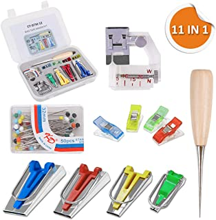 Bias Tape Maker Kit, Genround Bias Tape 6MM 12MM 18MM 25MM Double Fold Mulit-Function Bias Tape Makers with Adjustable Bias Binder Foot, Awl,Ball Pins, Cloth Clip for Sewing, DIY Cloth