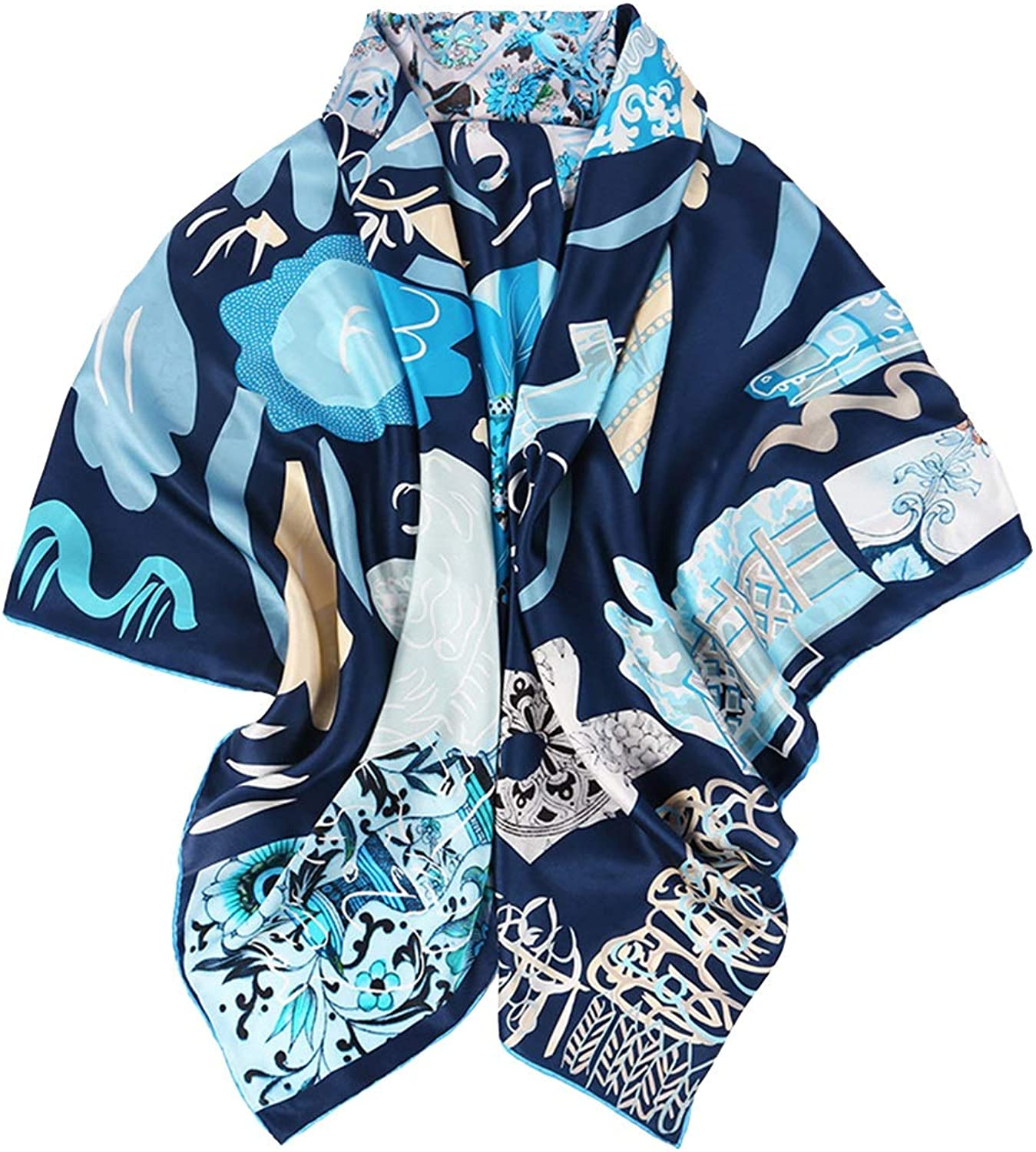 CEFULTY Women's Scarf Silk Print Handmade Curly bluee Square Scarf (color   bluee, Size   135x135CM)