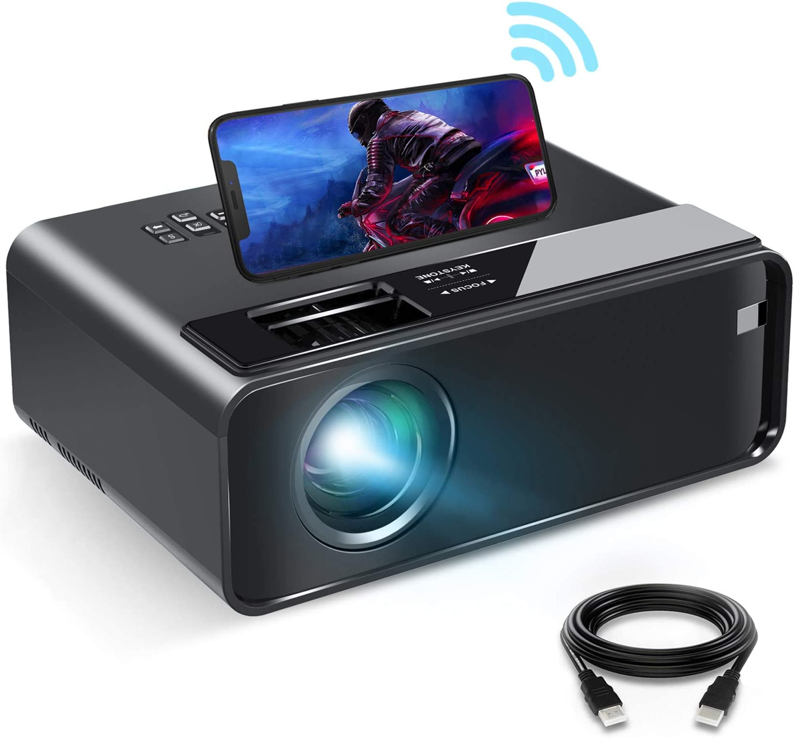 """Mini Projector for iPhone, ELEPHAS 2021 Upgrade WiFi Movie Projector with Synchronize Smartphone Screen, 1080P HD Portable Projector Supported 200"""" Screen, Compatible with Android/iOS/HDMI/USB/SD/VGA"""