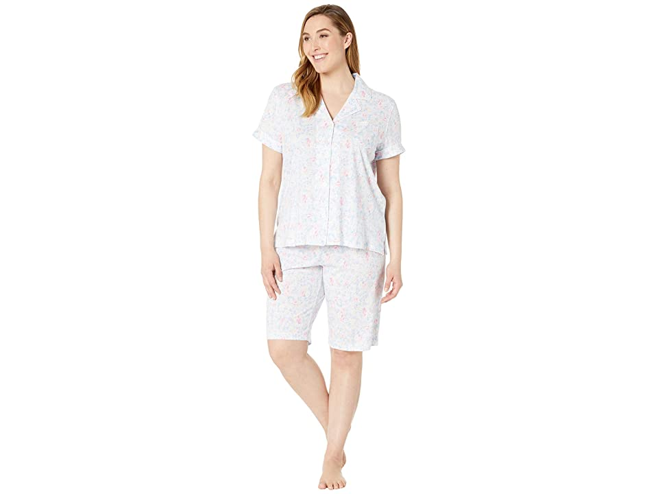 LAUREN Ralph Lauren Plus Size Short Sleeve Notch Collar Bermuda Pajama Set (Pink Floral) Women