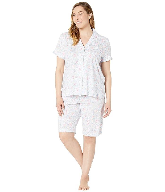 ebc64c0fa74 LAUREN Ralph Lauren Plus Size Short Sleeve Notch Collar Bermuda Pajama Set