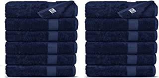 Chakir Turkish Linens Luxury Ultra Soft Bamboo 12-Piece Washcloths - Soft, Absorbent and Eco-Friendly (Navy)