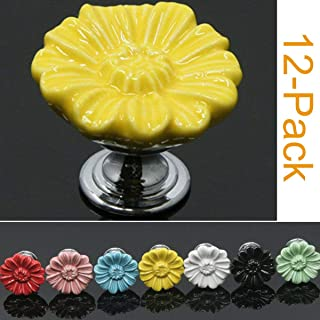 SunKni 12 Pack Ceramic Cabinet Knobs for Girl, Super Sturdy Flower Handles Pulls for Dresser Drawers Kitchen Cupboard Furniture Closet Door Prime Quality Floral Knob (Chrysanthemum, Yellow)