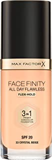 Max Factor Facefinity 3-In-1 Foundation, Crystal B 33, 30ml