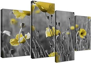 Cuadros en lienzo de amarillo campo de amapolas en blanco y negro para tu salón–4258–Wallfillers®