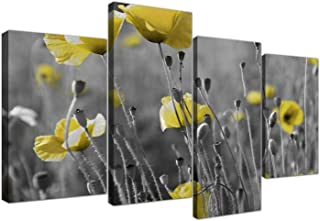 Wallfillers Yellow Grey Poppy Flower - Poppies Floral Canvas - Split 4 Piece - 51 Inches Wide - 4258