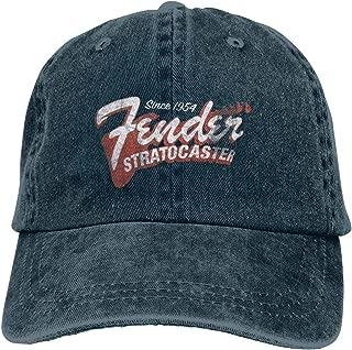 Fender Since 1954 Strat Unisex Adult Vintage Denim Adjustable Baseball Cap Sports Twill Washed Trucker Hat Black