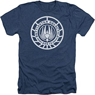 Scratched Bsg Logo Men's Heather T-Shirt Navy