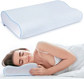 Samione Almohada de espuma viscoelástica, altura regulable, ortopédica, cervical, terapéutica, ergonómica, con funda de algodón extraíble y lavable, color blanco y azul